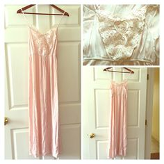 """GORGEOUS Light Pink Lace FLowy Maxi EMpire Most gorgeous maxi I have ever seen!!! I bought online and it is way too short for me  I'd say it is for someone 5'2"""" at the tallest and the shorter the better! I measures from the center of the chest where the dress begins (not the straps, the actual dress) and it is approx 43 inches. The straps are adjustable but where I have them now it falls around 52 inches. It is a good quality fabric with no flaws. All tags and hanging straps have been…"""