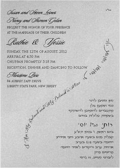 Silver Shimmer Tiffany Make your Hebrew and English invitation stand out.