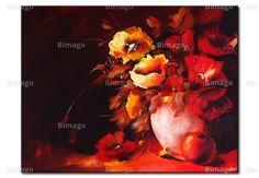 Roter Blumenstrauß . Bild auf Leinwand schon ab 80 € bei bimago.de erhältlich