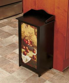 Wooden 13 Gallon Country Apple Trash Bin Can W Hinged Lid For Kitchen Room