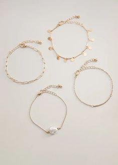 Pack of 4 Combined design Decorative beads Zip and carabiner fastening Decorative Beads, Mango, Jewelry Bracelets, Gold Necklace, Hoop Earrings, Accessories, Women, South Africa, United Kingdom