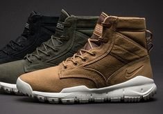 The Nike SFB Canvas Boot comes in three tonal colorways ideal for the Fall season. Take a look at all of them here. Nike Boots Mens, Nike Sfb Boots, Nike Men, Mens Sneaker Boots, Nike Shoes, Sneakers Mode, Sneakers Fashion, Fashion Shoes, Mens Fashion