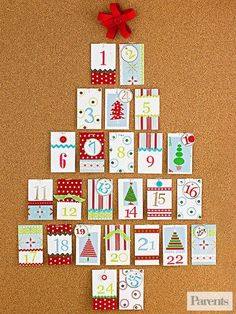 Make this tree by tacking 25 decorated envelopes to a corkboard -- a month full of surprises!