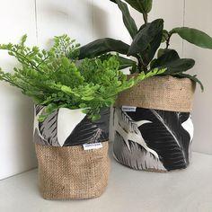 Swaying Palms Monochrome Hessian Planter Bag Fabric Plant Bags Craft Stalls Sacks