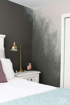 Ombré painting is EVERYWHERE. Clothing, home décor and even wall paint techniques. An ombré wall is the paint technique I chose to create a misty and ethereal look in our master bedroom. It started wh