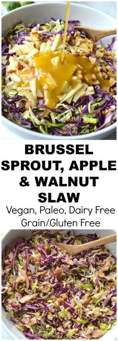 A delicious crunchy slaw of brussel sprouts red cabbage apples and walnuts topped with honey mustard dressing (Vegan Paleo Grain/Gluten Free SCD DF) Whole Food Recipes, Vegetarian Recipes, Dinner Recipes, Cooking Recipes, Healthy Recipes, Free Recipes, Slaw Recipes, Shrimp Recipes, Easy Cooking