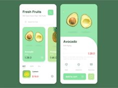 Food/fruits designed by Caroline. Connect with them on Dribbble; Ui Design Mobile, App Ui Design, User Interface Design, Flat Design, Layout Design, Template Web, App Design Inspiration, Fresh Fruit, A Food