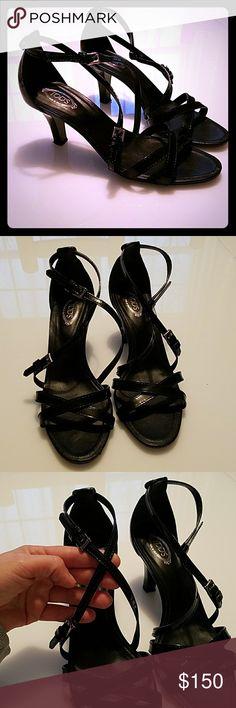 Tod's  black open toe sandals heels 39 Beautiful black sandals  Size 39  Excellent condition Tod's Shoes Heels