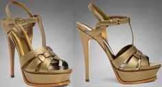 EXCLUSIVE YSL TRIBUTE HIGH HEEL SANDAL IN GOLD METALLIC LEATHER