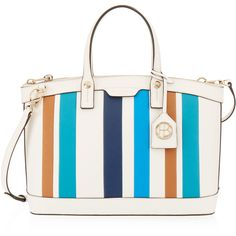 Henri Bendel West 57th Striped Satchel (£330) ❤ liked on Polyvore featuring bags, handbags, white stripe multi, white handbags, handbag purse, hand bags, zipper pouch and leather pouch