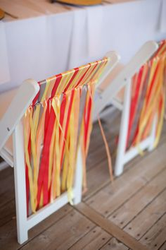 ribbon chair decor. Time consuming but I wish I had seen this pre-wedding.