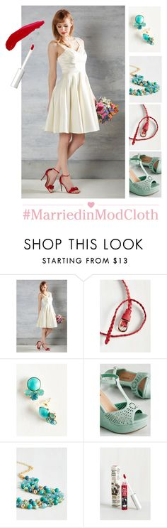 """""""Cast an Elegance Dress in Ivory"""" by modcloth ❤ liked on Polyvore featuring TheBalm"""