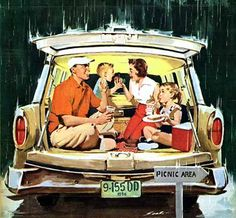 "This made me immediately remember going to estate and farm sales with our parents when we we young and having food packed up in the back of the wagon! ""Station Wagon Picnic,"" art by Mauro Scali, detail from American Weekly Magazine cover - June 1956 Vintage Advertisements, Vintage Ads, Vintage Posters, Retro Posters, Vintage Magazines, Vintage Items, Movie Posters, Vintage Pictures, Vintage Images"