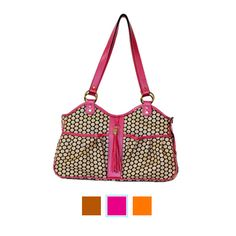 Madison-Noir-Featured - The ultimate in luxe designer dog carriers, this bag is rendered in graphic polka dots and set apart with sumptuous hot pink leather accents at the trim and tassel, giving it the look of a high-end handbag. Perfect for all kinds of travel, it's packed with features that make it ideal for your pooch. Includes three mesh windows, a roll-up window so they can poke their head out, two outside storage pockets, plus a zip pocket to hold your phone.