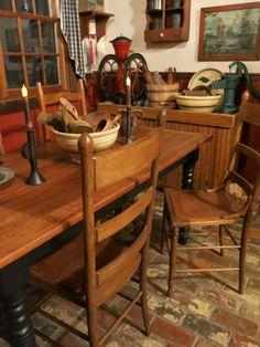 Home of Elsie Marie Bailey decor, dine, prim kitchen, brick floor, coloni, bricks, primit din, antiqu, countri