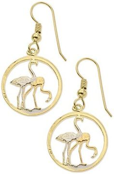 Flamingo Earrings, Russian Coin Hand Cut, 14 Karat Gold Bird Earrings with variety of beautiful birds. I chose the jewelry featured here because of how it looks. I do not show any special types of precious metal or gems. Variety is the spice of lifeRhodium Plated