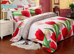Graceful Red #Tulip Print 4-Piece Duvet Cover Sets
