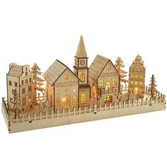 Wooden Christmas village scenes, with trains and music and LED lighting. Wooden Christmas candle bridges or arches and Christmas pyramids. Christmas Village Houses, Christmas Town, Christmas Villages, Outdoor Christmas, Christmas Diy, Christmas Stencils, Christmas Ornaments, Holiday, Graveuse Laser