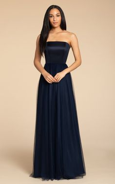 e450d36d9ebac Style 5916 Hayley Paige Occasions bridesmaids gown - Indigo English net  A-line gown, satin strapless bodice, natural waist, open strap detail at  back.