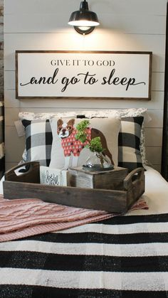 Over the bed sign with buffalo check and cute dog pillow created by Whimsy and Weathered guest bedroom My New Room, My Room, Home Bedroom, Bedroom Decor, Light Master Bedroom, Cozy Master Bedroom Ideas, Bedroom Furniture, Basement Master Bedroom, Country Master Bedroom