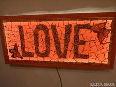 Üvegmozaik lámpa kép LOVE art glass lamp handwork design