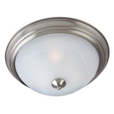 Casual Lighting 3-Bulb Flush Mount with Marbleized Glass - Satin Nickel...for our home