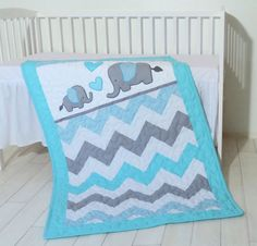 Organic Chevron Baby Quilt, Grey and Turqouise Elephant Crib Blanket, Appliqué and Patchwork. Custom made, fast turnaround time, 3-day FecEx