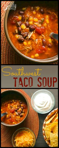Emily's Southwest Taco Soup has so much flavor! I like to make up a big batch in the crock pot and freeze the leftovers in smaller containers. via @favfamilyrecipz