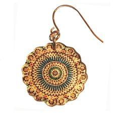 4120-70  - Green and Blue Kaleidoscope Earrings originjewelry.net