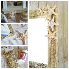 diy coastal rope mirror makeover, crafts, decoupage, This transformation couldn t be easier A little rope shells mod podge and hot glue and you can transform any mirror Beach Theme Bathroom, Beach Room, Beach Bathrooms, Bathroom Mirrors, Vanity Mirrors, Beach Themed Rooms, Dresser Mirror, Wall Mirrors, Downstairs Bathroom