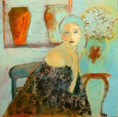 New work by Judy Thorley..acrylic and collage with handpainted tissue