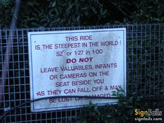fail signs | Steepest ride in the world | funny signs