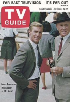 """TV Guide, November 16, 1963 - James Franciscus and Dean Jagger of """"Mr. Novak"""""""