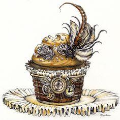 Steam Punk Cupcake - Original Pen and Watercolor Artwork By Madeleine Bellwoar