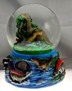 "Dinosaurs . Snow Globe - Sculptured Resin Water Ball Music Box 5 3/4"" High"