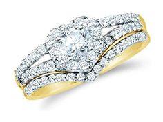1 cttw 14k Yellow Gold Diamond Heart Bridal Sets Wedding Rings Engagement Ring Sets (Sizes 3-11)