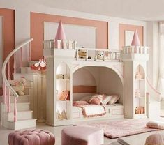Little girls princess room, castle bed. Every little girls dream bedroom. Dream Rooms, Dream Bedroom, Girls Bedroom, Castle Bedroom, Pretty Bedroom, Royal Bedroom, Bunk Beds For Girls Room, Baby Bedroom, Kids Bedroom Ideas For Girls Toddler