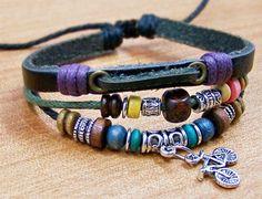charm leather bracelet  personalized bracelets for by edwinating, $6.99