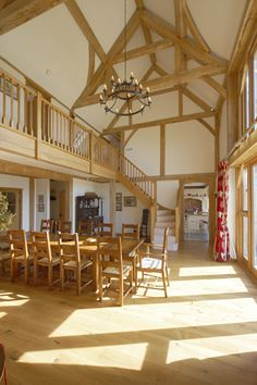 Internally the full post and beam oak frame is visible and gives great character to the interior of the house. The oak frame has been used to define space and the house is mostly laid out in an open plan style.