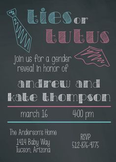 Chalkboard Ties or Tutus Gender Reveal Invitation (Printable) by Cherry Vanilla Boutique