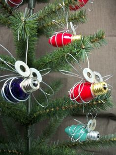 Light Bulb Bug Christmas Ornaments