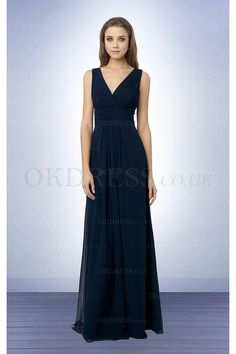 2016 Dark Navy Deep V-neck A-line Floor-length Bridesmaid Dresses - by OKDress UK