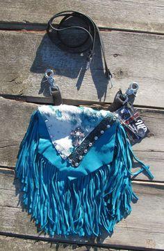 Turquoise Acid Wash Leather Hip Bag