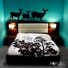 FREE SHIPPING - Deers Wall decal In the Wild Wall decal wall sticker,Vinyl, living room, home decor 032