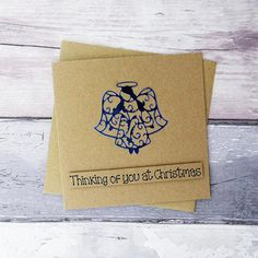 Angel Christmas card, Handmade foiled angel Bereavement card, Thinking of you at Christmas, Loss of Christmas Tree And Santa, Christmas Angels, Handmade Christmas, Birthday Card With Name, Funny Birthday Cards, Anniversary Cards For Wife, Pun Card, Card Sentiments, Hand Logo