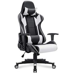 Homall Gaming Chair Office Chair High Back Computer Chair PU Leather Desk Chair PC Racing Executive Ergonomic Adjustable Swivel Task Chair with Headrest and Lumbar Support (White) Pc Gaming Chair, Computer Desk Chair, Gaming Room Setup, Gaming Computer, Beast Boy, Buy Chair, Ergonomic Chair, Swivel Chair, Top Rated