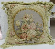 "16"" Floral Roses Blue Wool Needlepoint Sofa Couch Chair Bed Throw Pillow Cushion"