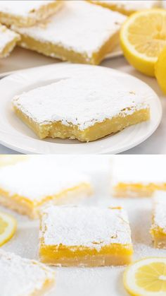 These lemon bars have the most delicious buttery shortbread crust and the most delicious lemon filling. These are perfect for lemon lovers! # spring Desserts The Perfect Lemon Bars Spring Desserts, Lemon Desserts, Köstliche Desserts, Delicious Desserts, Tasty Dessert Recipes, Chinese Desserts, Spring Recipes, Easter Recipes, Plated Desserts