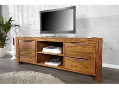 Meuble TV design bois massif Lagos 135 cm