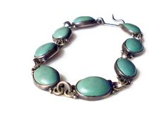 Mexican Sterling Bracelet, Silver 925, Turquoise Stone, MPB Mexico, Artisan, Vintage Jewelry by zephyrvintage on Etsy